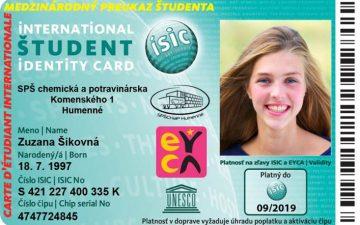 Preukaz ISIC EURO26 09 2019